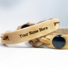 Brown Leather Bracelet - Design your own names