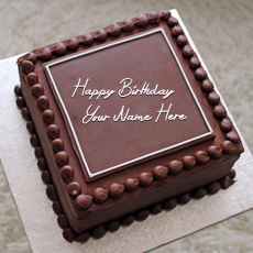 Birthday Cakes name pictures - Elegant Square Cake