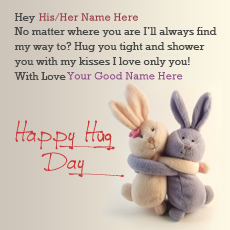 Happy Hug Day name pictures - Hag Day Bunnies