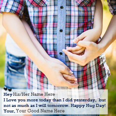 Happy Hug Day name pictures - Happy Hug Day Couple