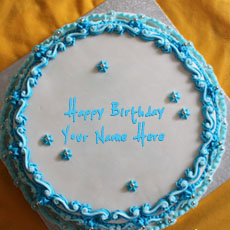 Birthday Cakes name pictures - Blue Floral Birthday Cake
