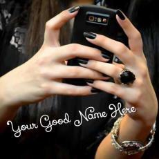 Cell Phone Girl in Black - Design your own names