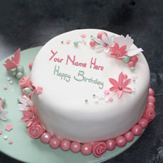 Flowers Elegant Cake - Design your own names