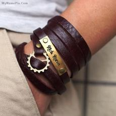 Jewelry name pictures - Nick Name Leather Bracelet