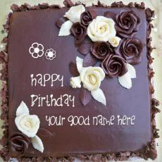 Roses Chocolate Birthday Cake - Design your own names