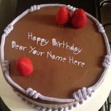 Chocolate Strawberry Birthday Cake - Design your own names