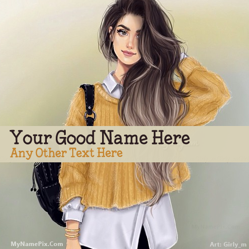 Design your own names of Girl with Bag