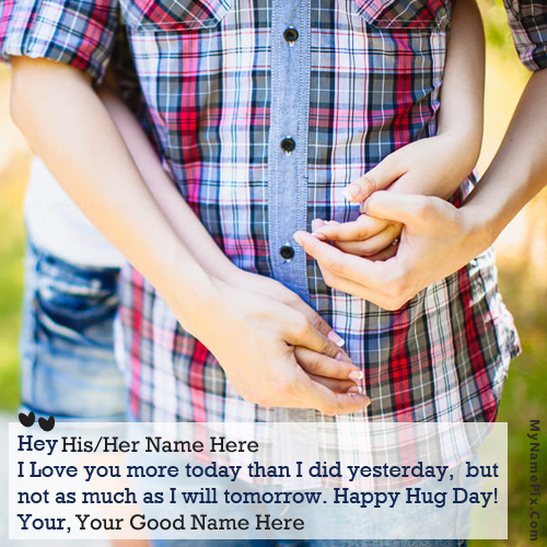 Design your own names of Happy Hug Day Couple