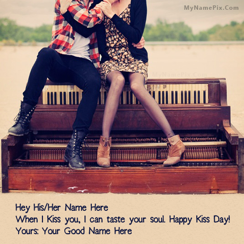 happy kiss day couple name picture happy kiss day name generator