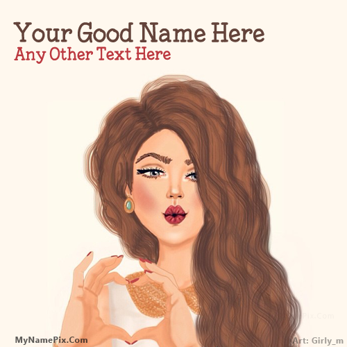 Design your own names of Heart Hands Girl Drawing