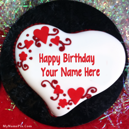 Design your own names of Heart Shaped Birthday Cake