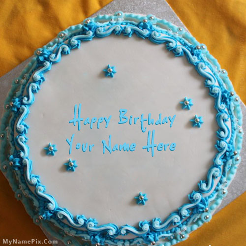 Design your own names of Blue Floral Birthday Cake