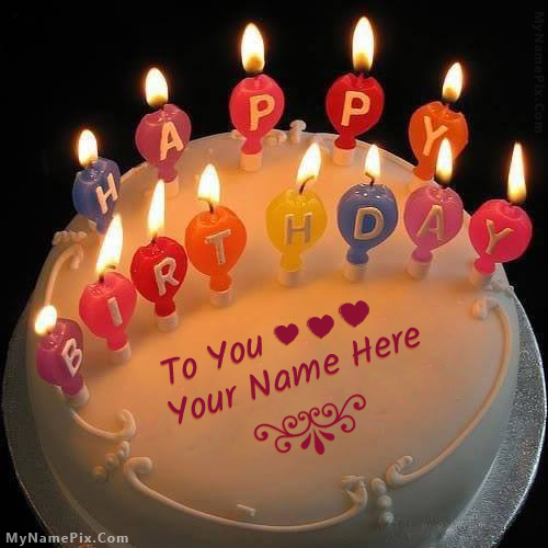 Design your own names of Candles Happy Birthday Cake