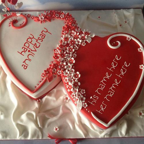 Design your own names of Happy Anniversary Hearts Cake