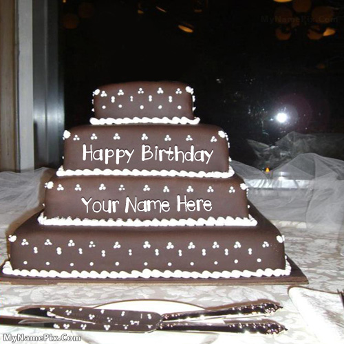 Design your own names of Happy Birthday Layered Cake