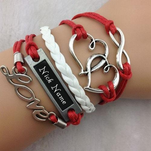 Design your own names of Heart to Heart Bracelet