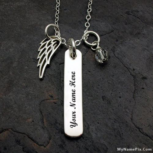 Design your own names of Wing Charm Silver Snake Chain