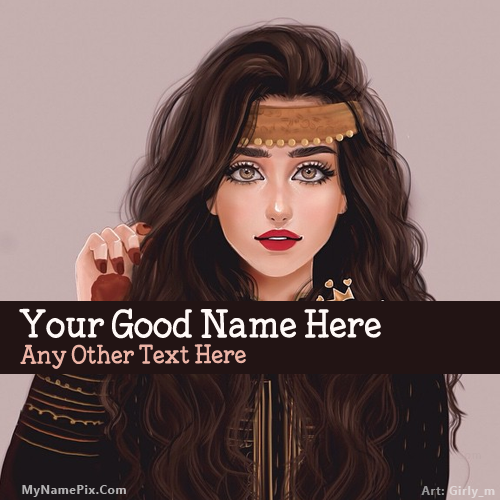 Design your own names of Mehndi Girl Drawing