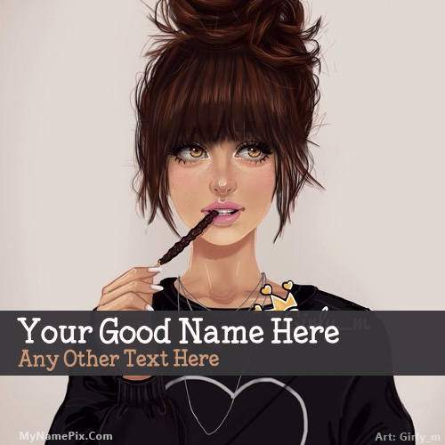 Design your own names of Pencil Girl Drawing