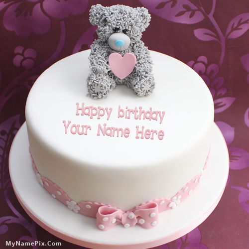 Write Name On Teddy Birthday Cake Happy Birthday Cake With Name